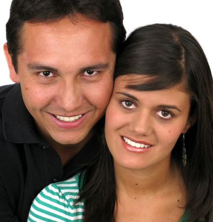 Young couple smiling over white background Stock Photo - 7313577