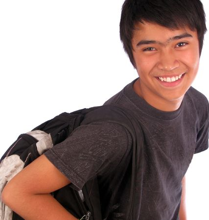look latino: Young male student over a white background Stock Photo