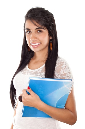 Happy female student smiling  over a white background  photo