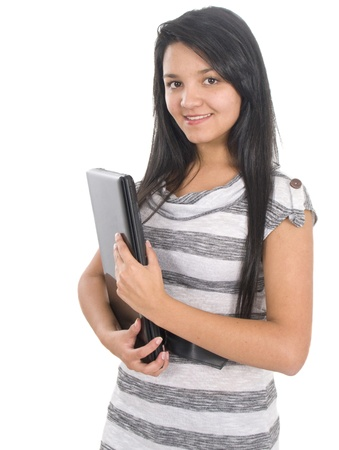 student girl: A smart young student carrying a laptop computer