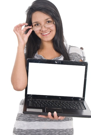Beautiful girl with laptop over white Stock Photo - 10204109