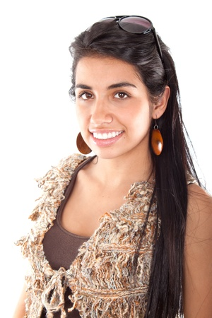 colombian: Happy young woman smiling isolated on a white background.