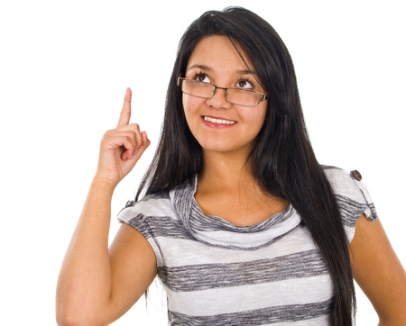 Cut out of happy young businesswoman pointing photo