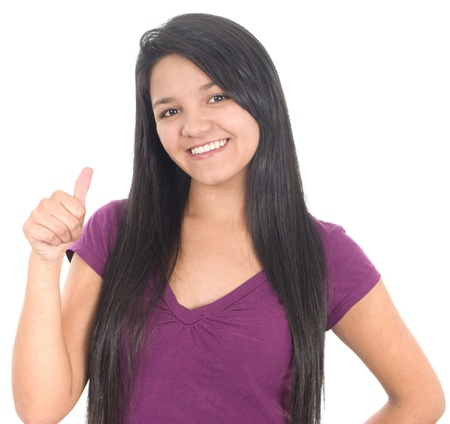 Beautiful woman with thumb up over white photo