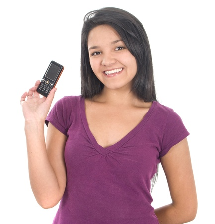 Young girl holding out mobile phone over white photo