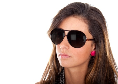 Close up of a beautiful latina wearing Super Model sunglasses  Stock Photo
