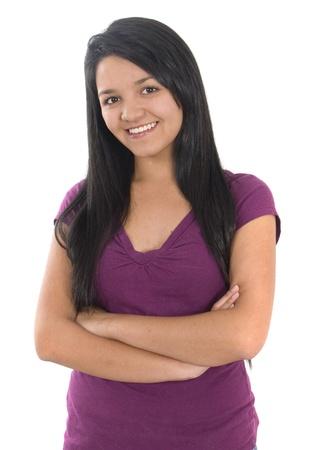 fille indienne: Closeup portrait d'une jeune femme heureuse souriante Banque d'images
