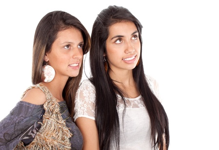 Two women looking up at copy space isolated photo