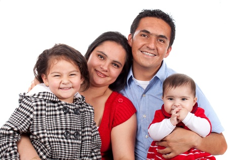 Beautiful Happy young family over white  photo