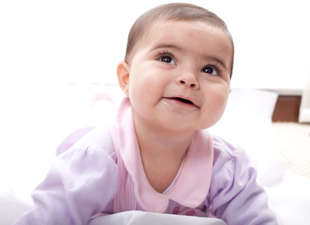 Laughing happy baby on bright background Stock Photo - 14824213