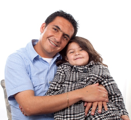 Portrait of sweet young girl with her father at home  Stock Photo - 14902658