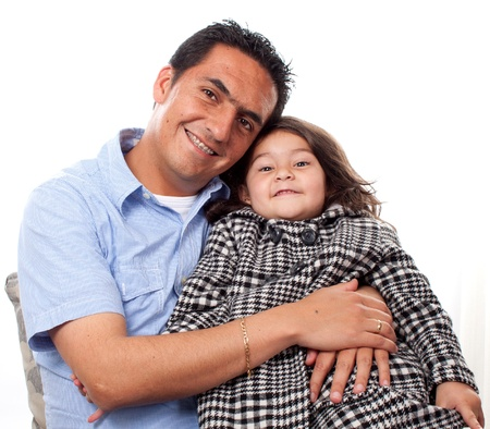 Portrait of sweet young girl with her father at home Stock Photo - 14902659