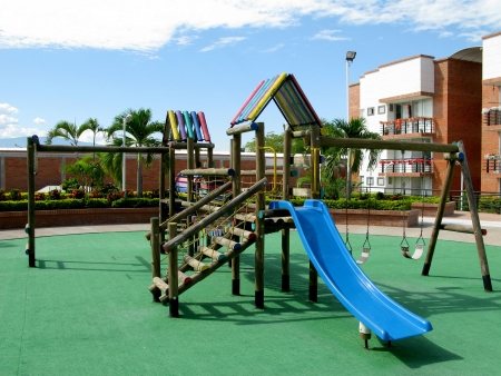 A big colorful children playground equipment. photo
