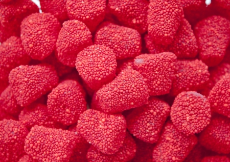 Those are fruit gummy raspberries and blackberries photo