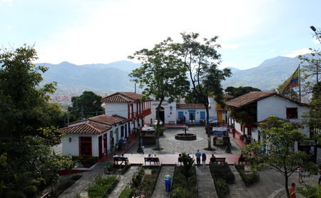 towns: Pueblito paisa, a traditional colonial style small touristic village in the top of nutibara hill in the city of Medellin, Colombia
