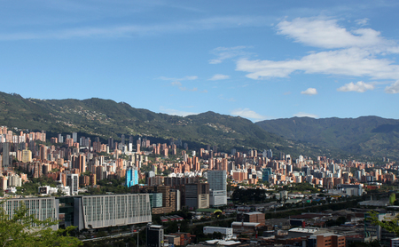 Medellin downtown. Colombia. Buildings. Landscape panorama Stock Photo
