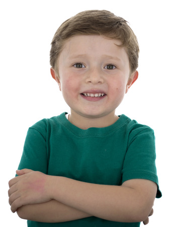 5 year old: Adorable 5 year old American boy against white background.