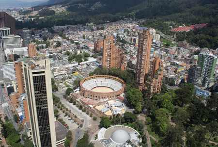 BOGOTA, COLOMBIA - JANUARY 15, 2017: A view of Bogota, planetarium and the bullring of Bogota from the top of the Colpatria building.