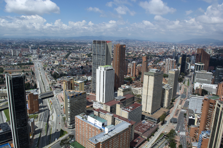 BOGOTA, COLOMBIA - JANUARY 15, 2017: A view of Bogota, planetarium and the bullring of Bogota from the top of the Colpatria building. Editorial