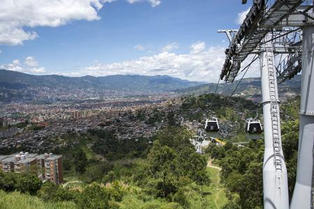 comuna: Gondola Ropeway city landscape. Medellin Colombia cable car. Photo taken on: July 27, 2016 Editorial