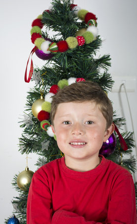 Portrait of happy little boy in near Christmas tree. Stock Photo