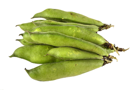 Broad beans green  isolated on white.   Stok Fotoğraf