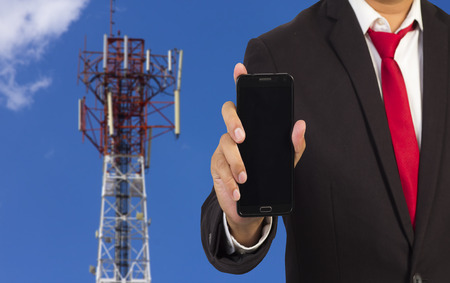 通信: ビジネスやモバイル通信の概念 写真素材