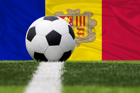 Andorra soccer ball against Andorra flag
