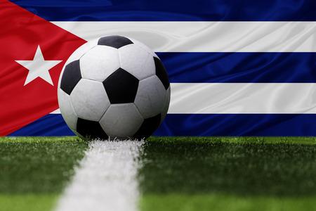 bandera cuba: Cuba bal�n de f�tbol y la bandera de Cuba
