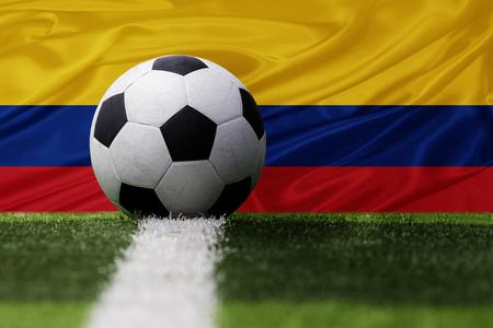 bandera de colombia: Colombia bal�n de f�tbol y la bandera de Colombia Foto de archivo