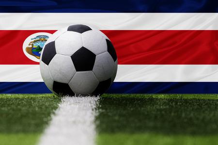 costa rica flag: Costa Rica soccer ball and Costa Rica flag Stock Photo