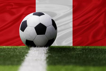 bandera de peru: Perú balón de fútbol y la bandera de Perú Foto de archivo