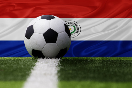 paraguay: Paraguay soccer ball and Paraguay flag