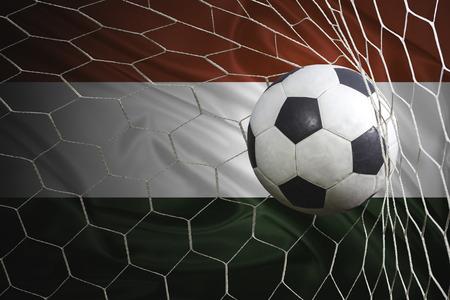 multi national: Hungary flag and soccer ball, football in goal net