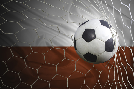poland flag: Poland flag and soccer ball, football in goal net