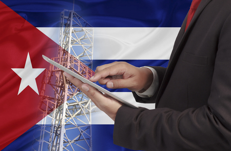 cuba flag: business and mobility communications concept Cuba Flag background
