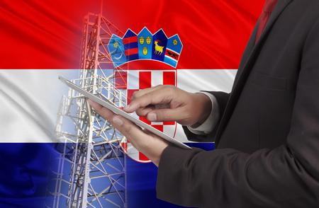 bandera de croacia: Concepto de comunicaciones comerciales y de movilidad fondo de la bandera de Croacia Foto de archivo