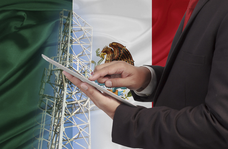 business and mobility communications concept Mexico Flag background Standard-Bild