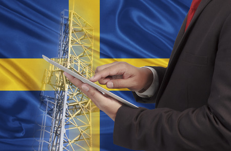bandera de suecia: business and mobility communications concept Sweden Flag background