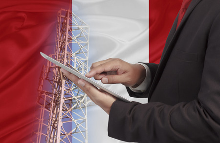 wireless network: business and mobility communications concept Peru Flag background Stock Photo