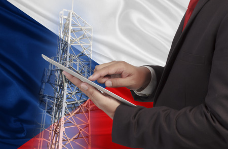 hands free phone: business and mobility communications concept Czech Republic Flag background