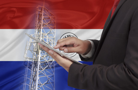 bandera de paraguay: business and mobility communications concept Paraguay Flag background