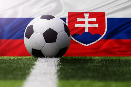 slovakia flag: soccer ball against Slovakia flag