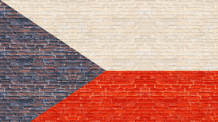 czech republic flag: Czech Republic flag on old brick wall
