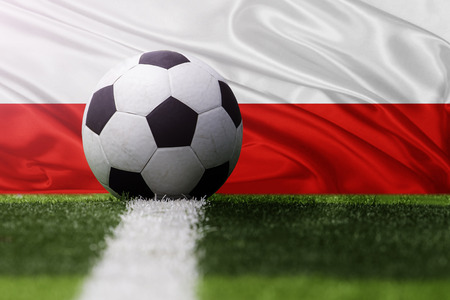 poland flag: soccer ball against Poland flag