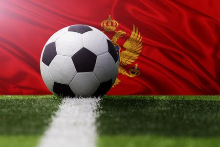 soccer ball against Montenegro flag