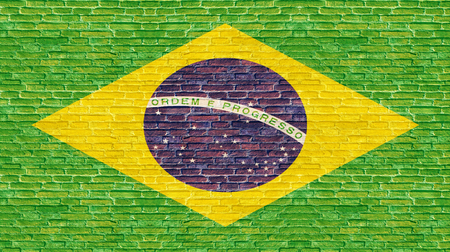 Brazil flag on old brick wall Stock Photo