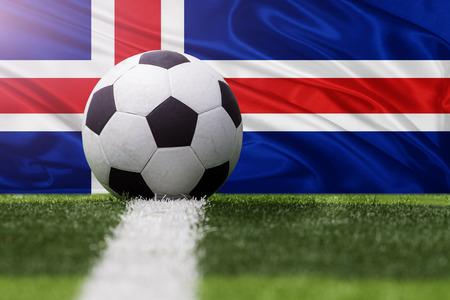 iceland flag: Iceland soccer ball against Iceland flag