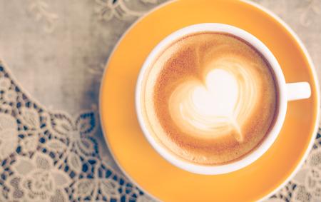 Close up Coffee latte art,vintage color