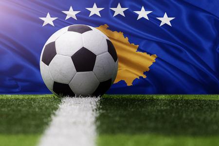 kosovo: soccer ball against Kosovo flag